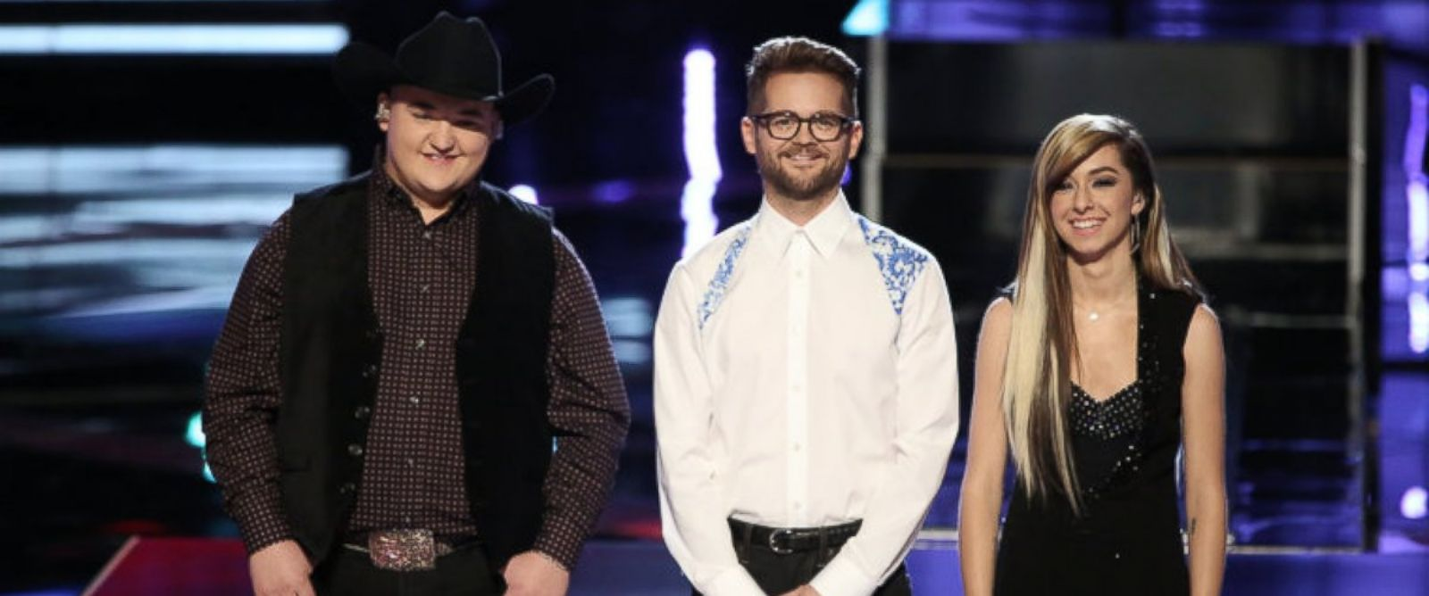 """PHOTO: From left, Jake Worthington, Josh Kaufman and Christina Grimmie are pictured on """"The Voice."""""""