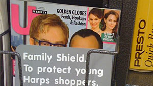 Photo: A grocery store in Arkansas was seemingly offended by the Us Weekly magazine cover featuring Elton John and partner David Furnish with their baby son Zachary.