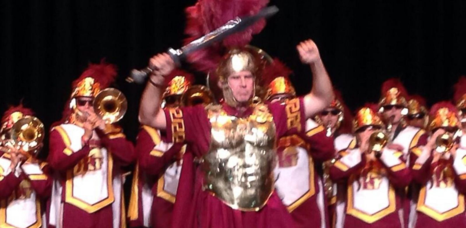 "PHOTO: Will Ferrell is seen leading the University of South California in full Trojan armor in this photo post to the athletic departments Twitter account on Oct. 14, 2013 with the caption, ""Will Ferrell at #USC! @CFCcharity #FightOn""."