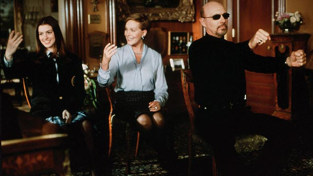 "PHOTO: Anne Hathaway, left, Julie Andrews and Hector ELizondo are seen in a scene from the movie ""The Princess Diaries."""