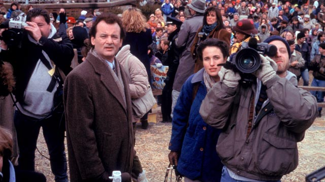 """PHOTO: Bill Murray, left, Andie MacDowell and Chris Elliot, in a scene from the movie, """"Groundhog Day."""""""