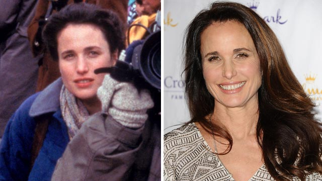 """PHOTO: Andie MacDowell, left, in a scene from the movie """"Groundhog Day."""" Andie MacDowell, right, attends the Hallmark Channel 2013 winter press gala at Huntington Library, Jan. 4, 2013, in Pasadena, Calif."""