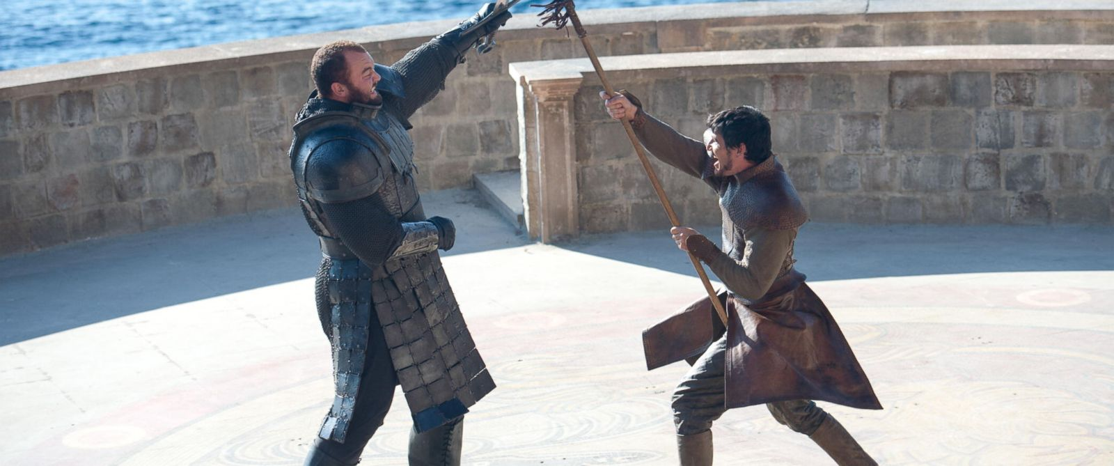 "PHOTO: The Mountain (Hafthor Julius Bjornsson) squares off against Oberyn Martell (Pedro Pascal) on the HBO show, ""Game of Thrones""."