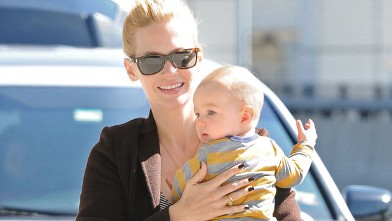 PHOTO: Actress January Jones is seen at JFK airport with her son Xander in New York City, March 27, 2012.