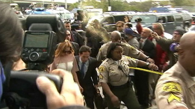 VIDEO: A powdery substance was thrown at the actress as she arrived at court in Los Angeles.