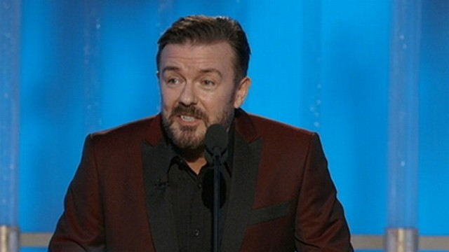 VIDEO: Ricky Gervais took aim at Kim Kardashian and Justin Bieber.
