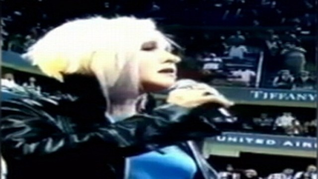 VIDEO: Cyndi Lauper fudges the lyrics while performing at the U.S. Open.
