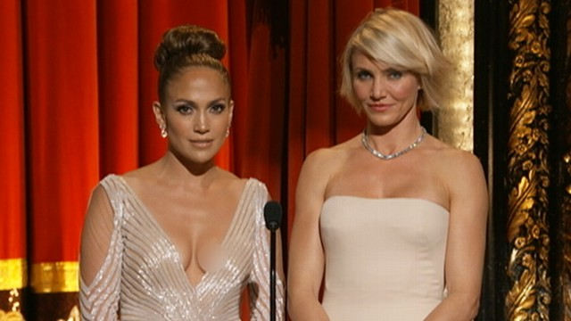 VIDEO: Jennifer Lopez appeared to show too much skin while presenting at the Academy Awards.