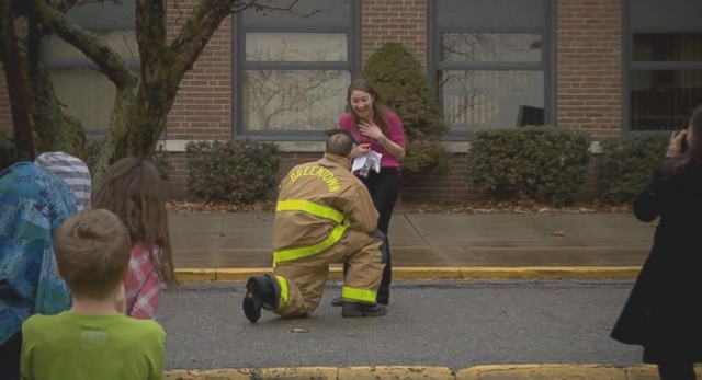VIDEO: Firefighter Proposes During Fire Drill