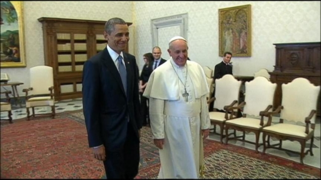 """VIDEO: The president says he is a """"great admirer"""" of the pontiff during their hour long meeting in the Vatican."""