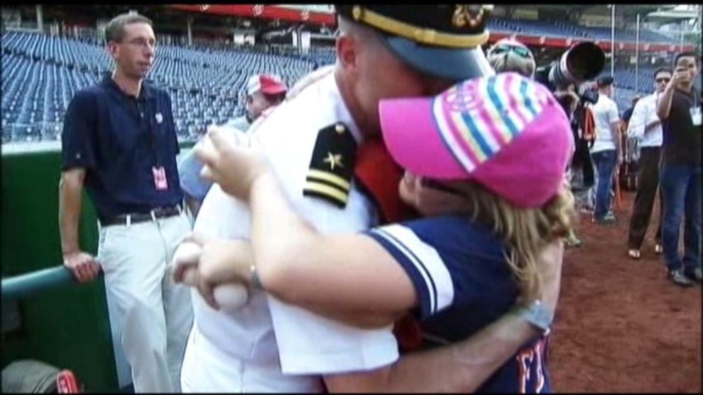 VIDEO: Navy Lieutenant Surprises Kids at Nationals Game