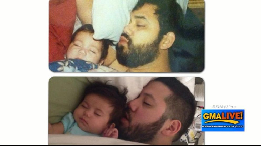VIDEO: A daughter sleeping with her dad had a shocking resemblance to a photo taken two decades ago.