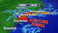 VIDEO: Flash-Flood Warnings Remains in Effect During Once-In-A-Generation Storm Hits South Carolina