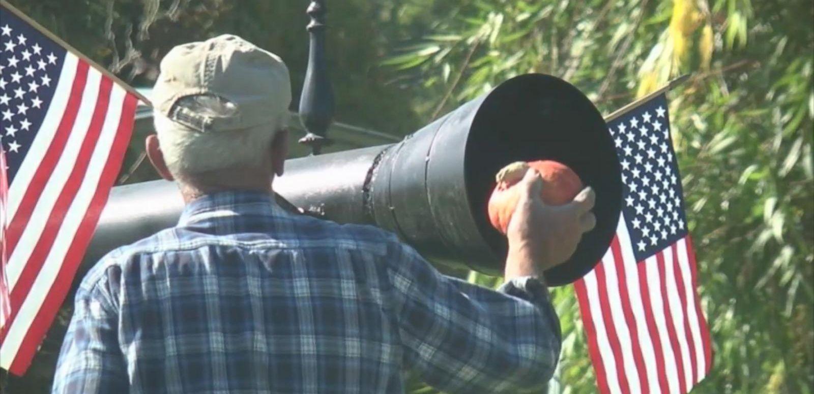 VIDEO: Washington farmer John Thompson says his cannon creations can blast Jack-o-lanterns up to a mile.