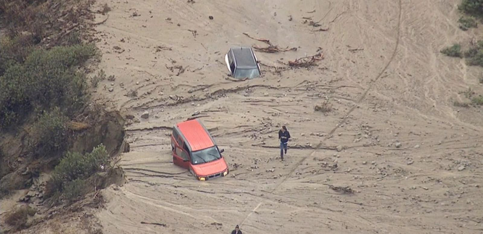 VIDEO: The massive mud flow swallowed cars, shut down a 30-mile stretch of Interstate 5.