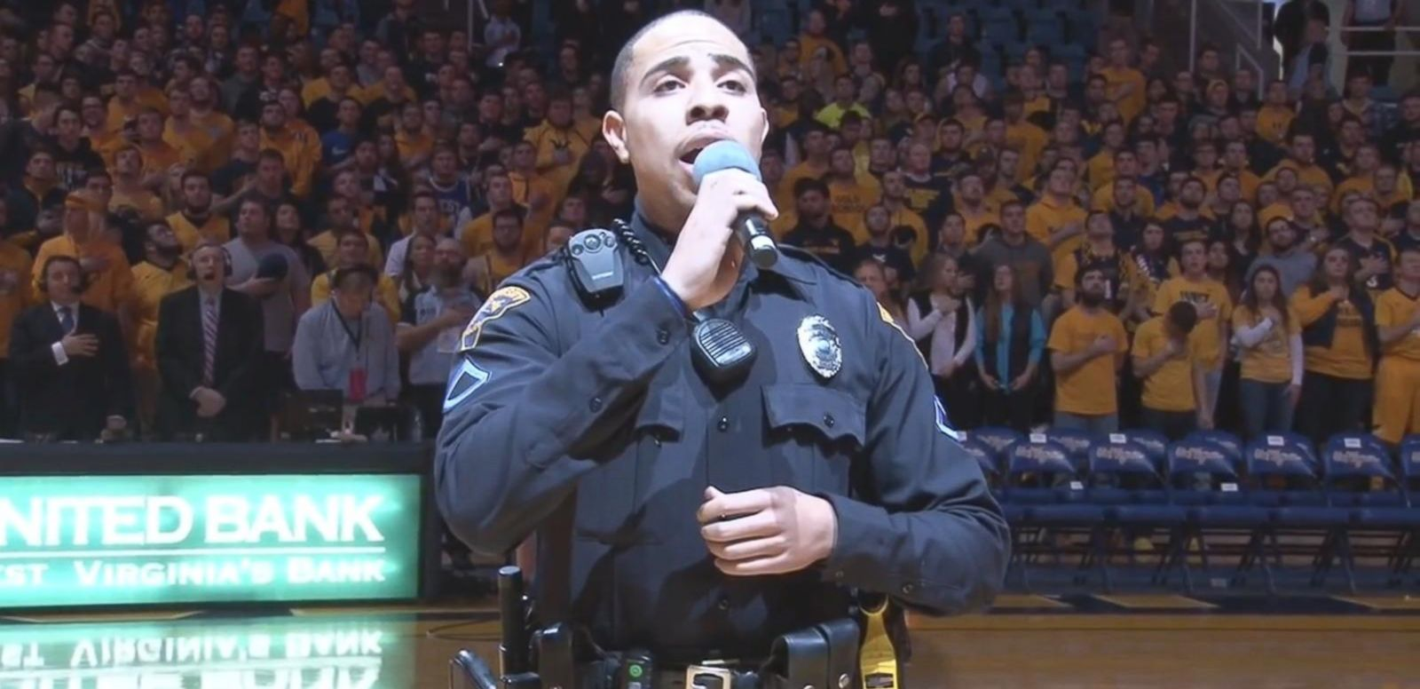 VIDEO: Cop Steps in to Sing the National Anthem