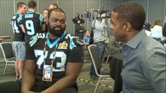 VIDEO: The Carolina Panthers offensive tackle says he hasnt watched the 2009 movie since it was first released.