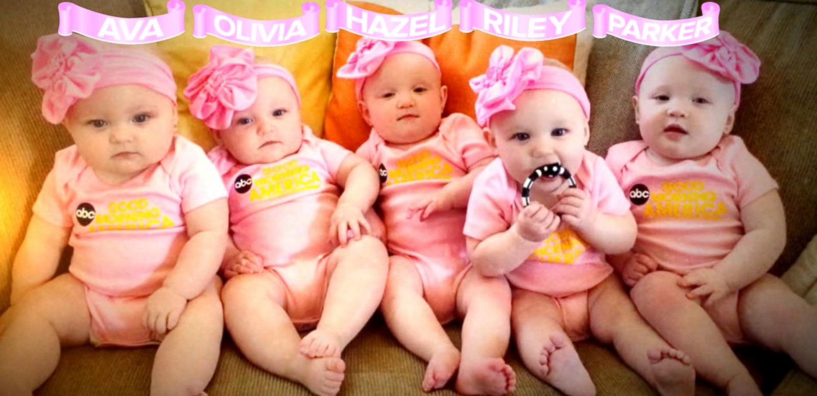 First All Girl Quintuplets Appear On 39 Gma 39 In Matching