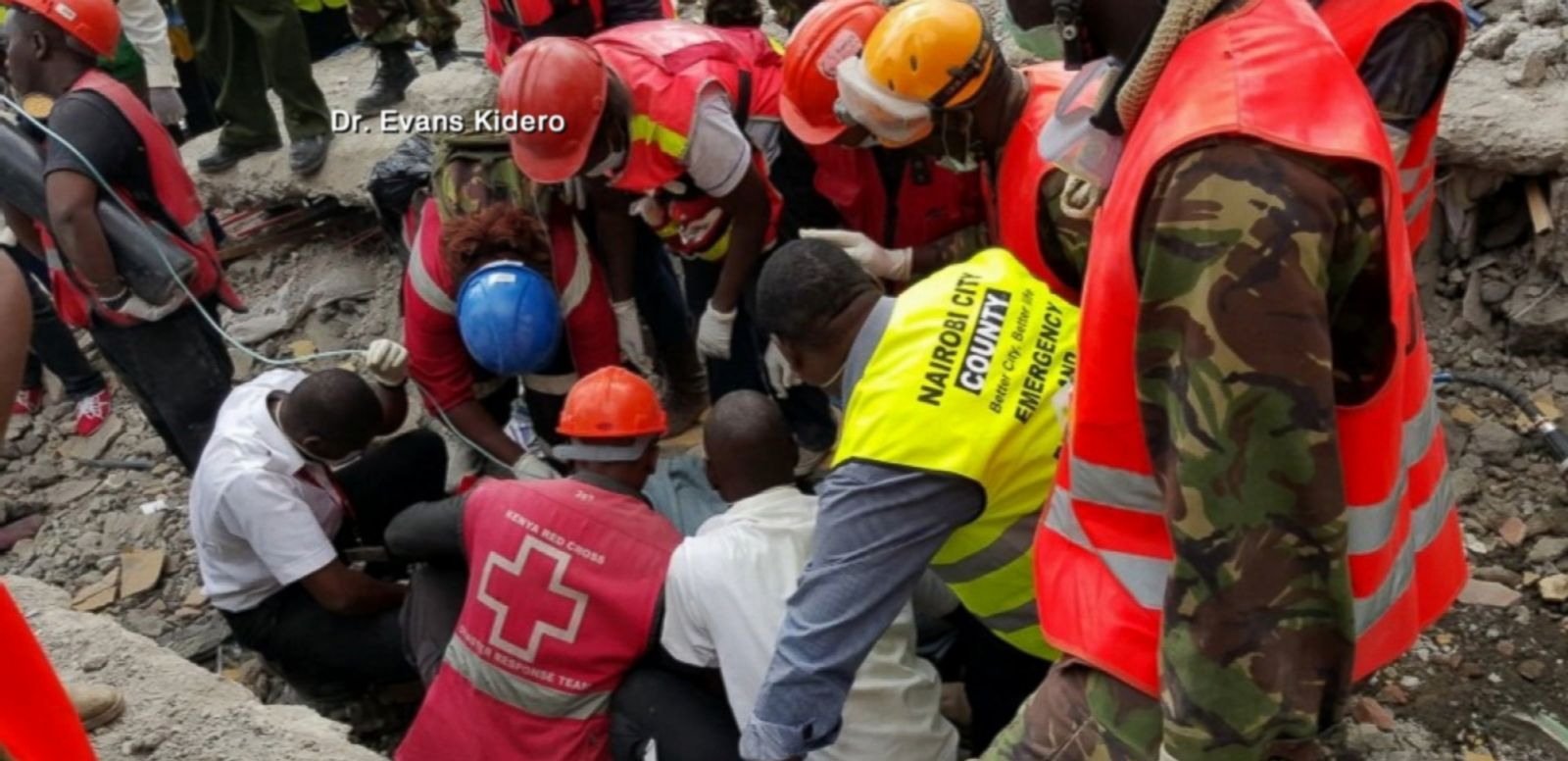 VIDEO: The woman's rescue from the rubble was broadcast on Kenyan TV.