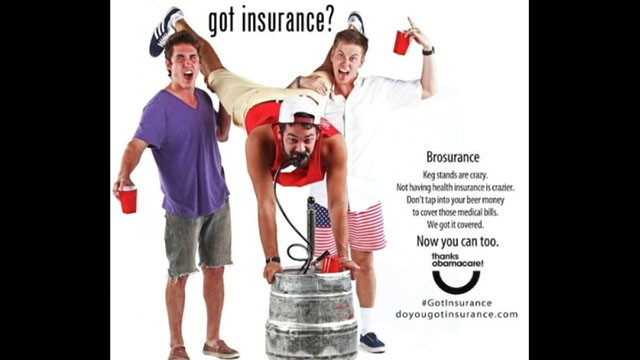 VIDEO: Colorado ad campaign uses photo of a keg stand to get men to sign up for health insurance.