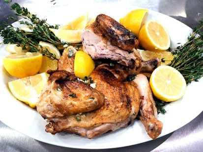 Crispy pan roasted chicken