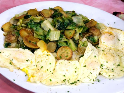 Rachael Rays Potatoes with Dandelion Greens and Fried Eggs