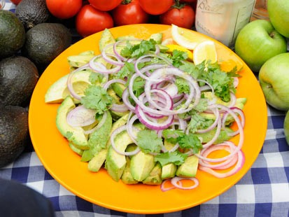 Rocco DiSpiritos Avocado Salad with Red Onion