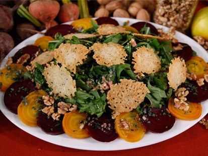 PHOTO Roasted Beet Salad with Walnut Dressing and Cheese Crisps