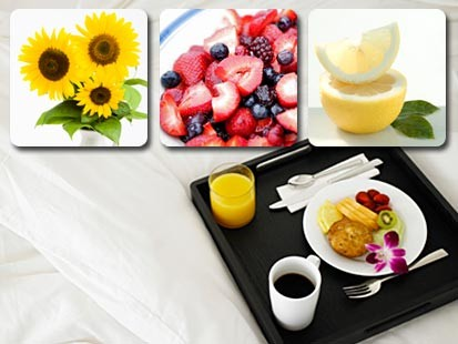 Photo: Breakfast in bed; flowers; lemons; berries