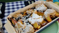 Rocco's Peach and Blueberry Cobbler with Ginger and Cinnamon