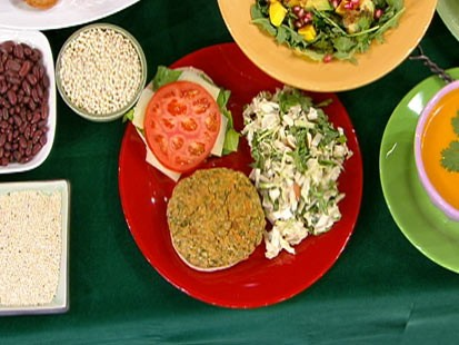 Diane Henderiks garden veggie burger and Asian slaw are shown.