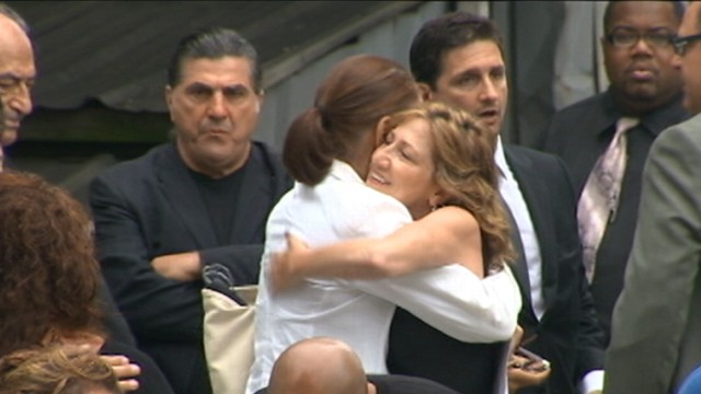 VIDEO: Stars and family gathered in New York to lay the beloved actor to rest.