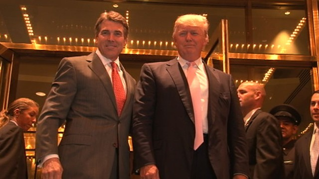VIDEO: GOP front-runner arrives in New York City to discuss jobs with business mogul.