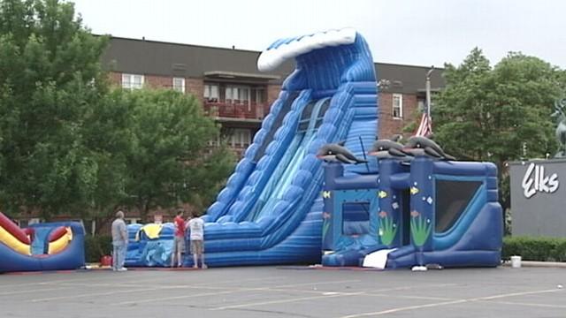 VIDEO: Thirteen children were injured when an inflatable bounce house went soaring.