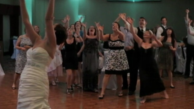 VIDEO: This bridesmaids attempt to catch the coveted bouquet doesnt go as planned.