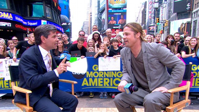 """VIDEO: """"World War Z"""" actor discusses his new thriller, recent health decision by his partner."""