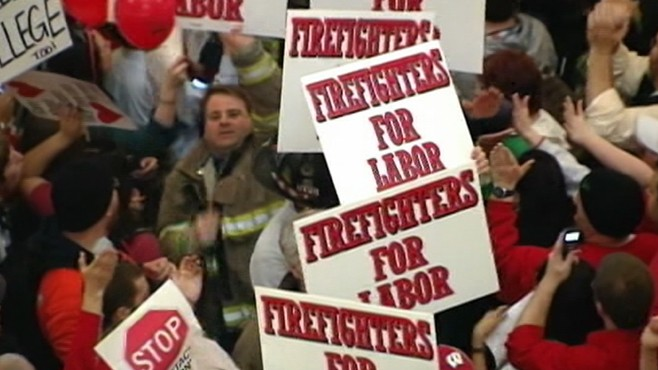 VIDEO: Public workers protest budget package that would strip rights and benefits.