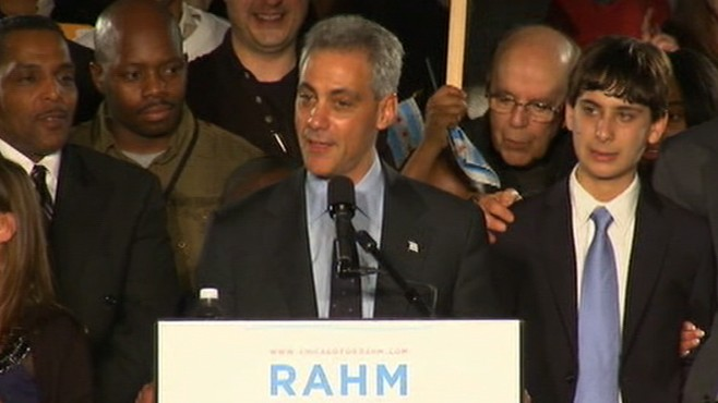 VIDEO: Obamas former chief of staff wins mayoral election in Chicago.