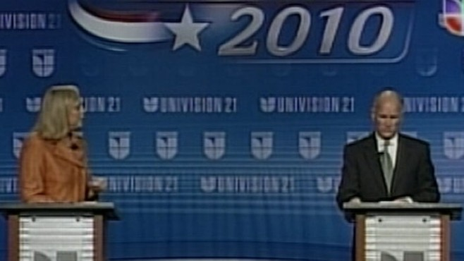 Tensions are high at the Univision debate between Meg Whitman and Jerry Brown.