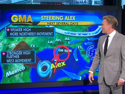 VIDEO: T.S. Alex could become a hurricane by Tuesday and push oil farther inland.