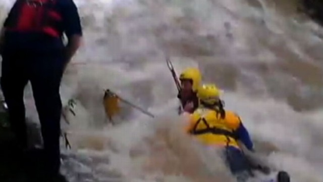 VIDEO: Boy was swept about 300 yards through a drainpipe and climbed out in a river on the other side.