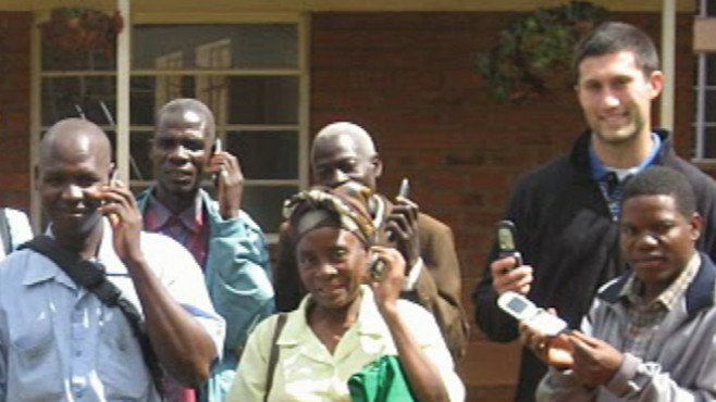 "VIDEO: Former soccer stars ""Hope Phones"" delivers phones to health workers in Malawi."