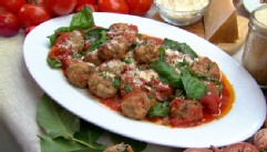 VIDEO: Fabio Viviani prepares his mom's meatballs, drunken spaghetti and tomato salad with orange and feta.