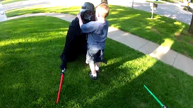 """VIDEO: Justin Whyte, 33, surprised his son at home dressed as Darth Vader for """"Star Wars"""" themed birthday."""
