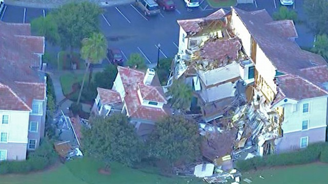 VIDEO: A 40-to-50-foot-wide sinkhole opened in the middle of the night, causing guests to evacuate.