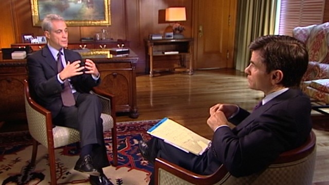 VIDEO: Chicagos new mayor discusses job creation, Mideast peace, and 2012 election.