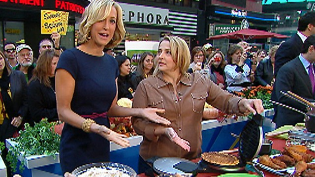 Elizabeth Karmel's Pumpkin Waffles, Cheese Grits