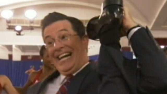 """VIDEO: Host of Comedy Central?s """"Colbert Report"""" initiates a fake feud with MTV in viral campaign."""