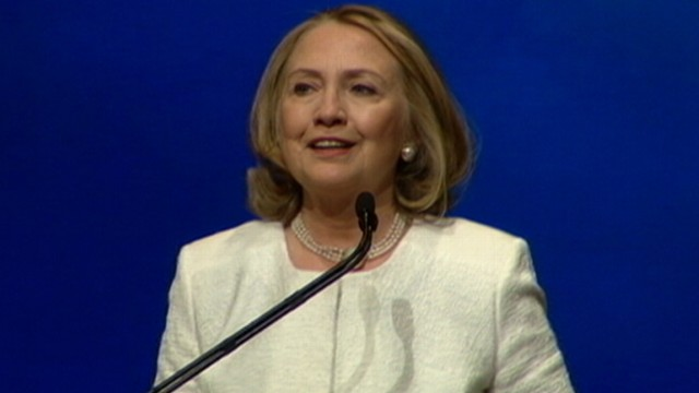 VIDEO: Clinton made her first public appearance since stepping down as secretary of state.