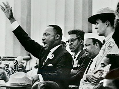 "A picture of Martin Luther King Jr. delivering his ""I Have a Dream"" speech."